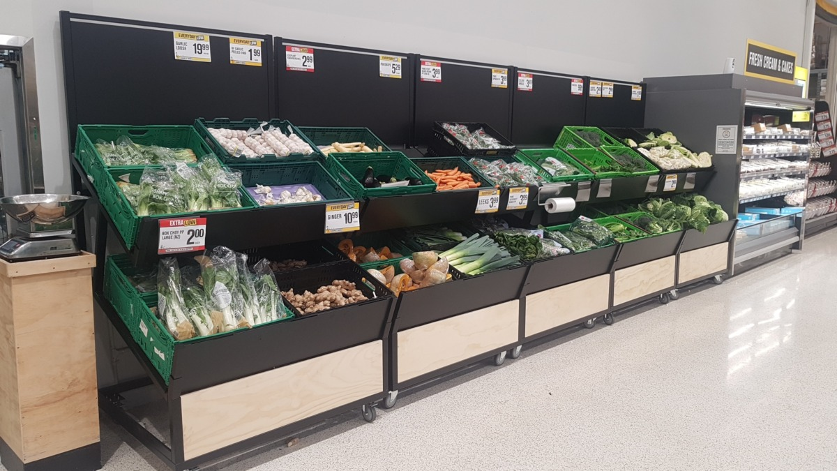Large produce gondolas on castors with double tiered shelves to hold crates