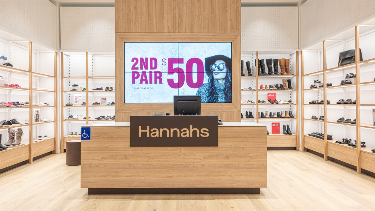 Shoe store checkout counter and digital signage