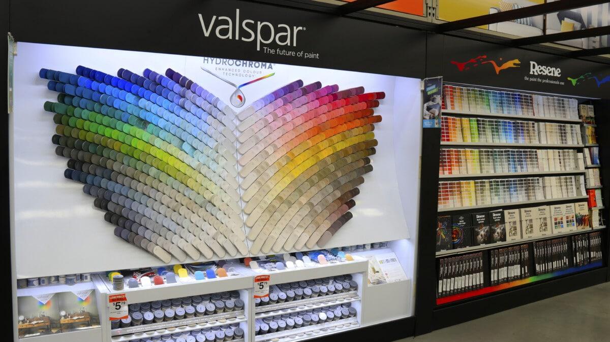 Freestanding LED lit paint colour selection area