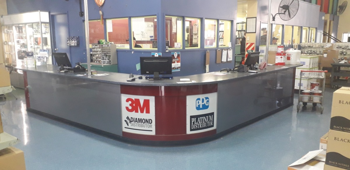 Hardware store checkout and service counter