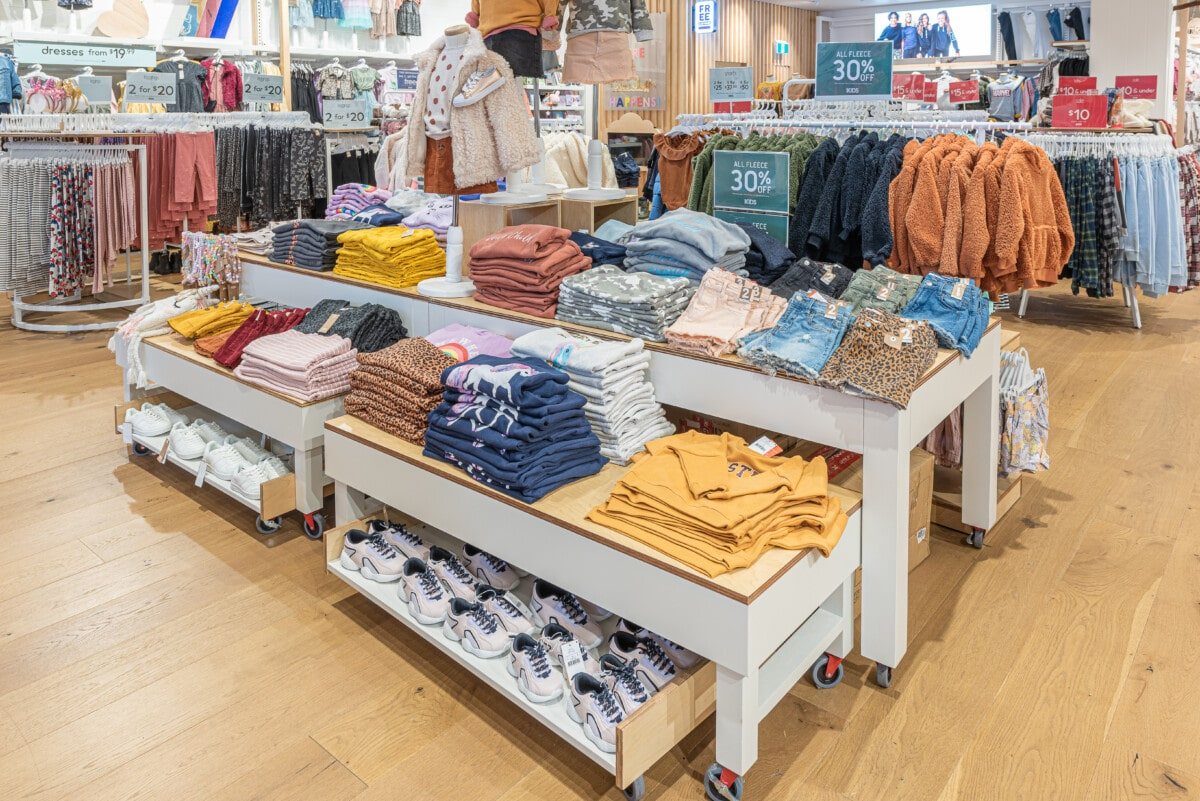 Nesting tables on 3 levels for apparel product display