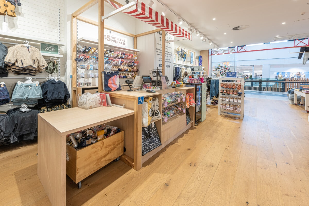 Casual looking counter with awning in childrens apparel store