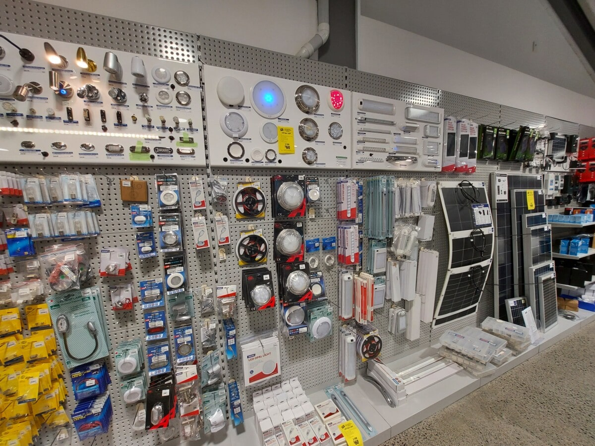 Custom wall display components for boating and light products