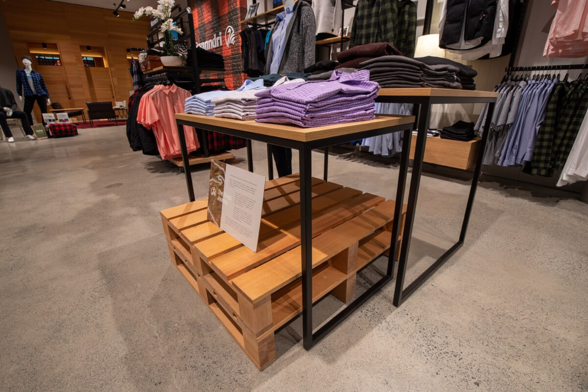 Nesting tables for apparel with custom wood crates underneath