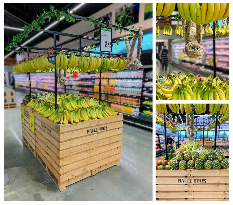 Produce display table and metal framed banana display