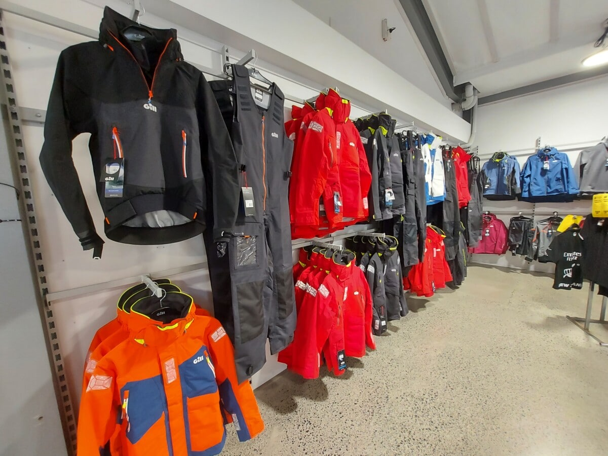 Jacket display in sports store