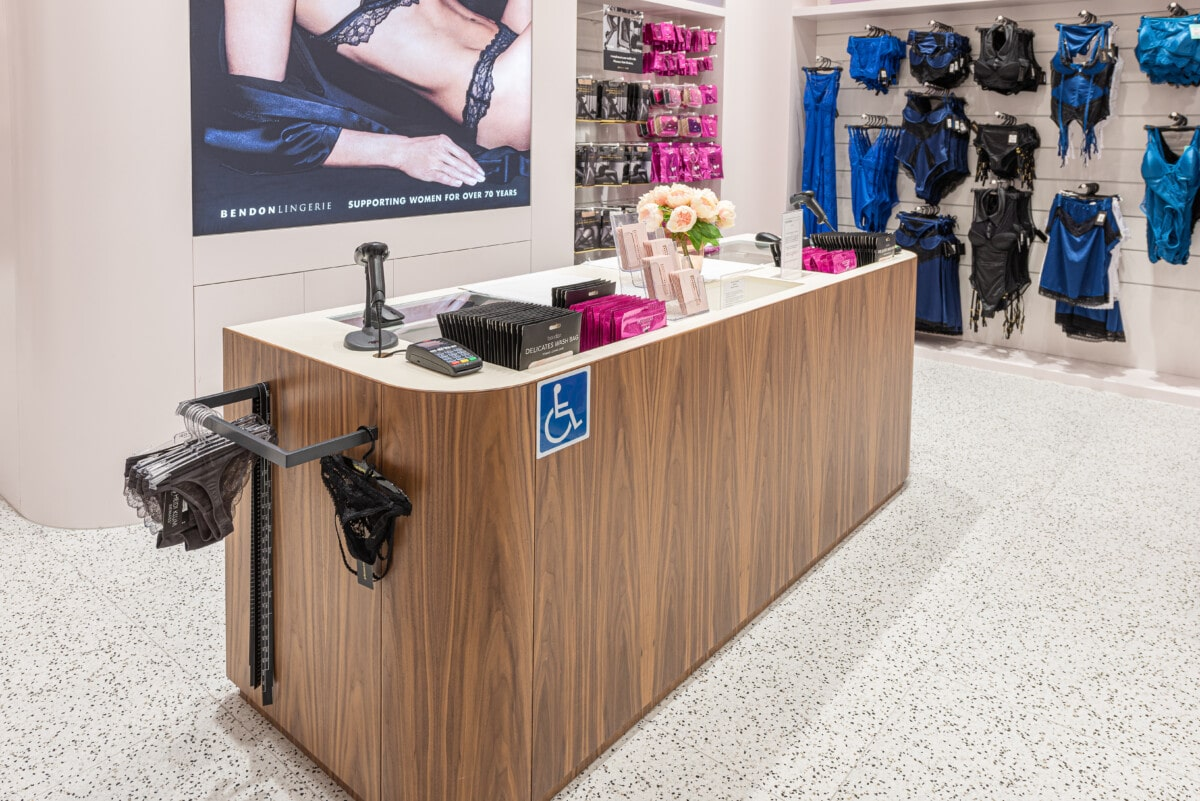 Lingerie store checkout counter