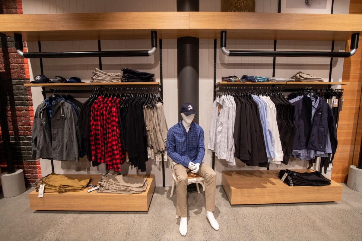 Custom apparel wall racking and shelving display