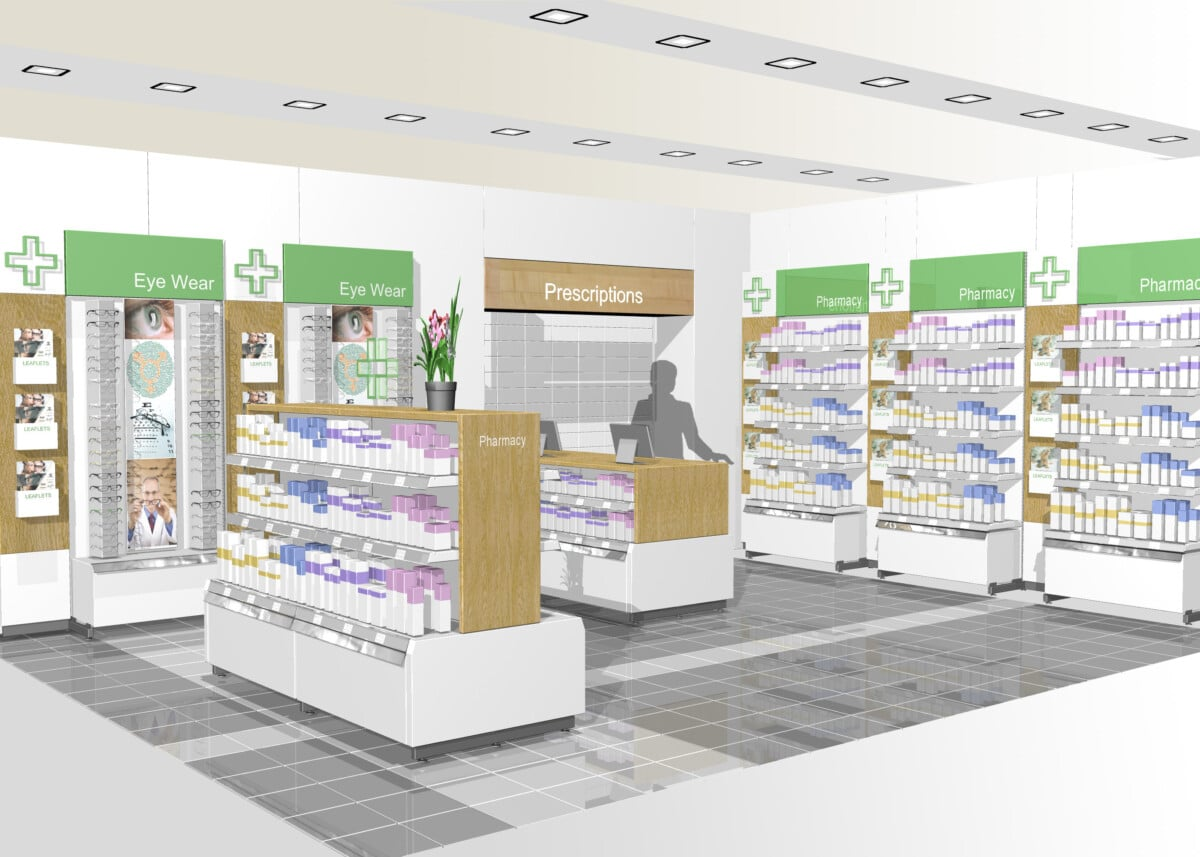 Pharmacy wall bay and gondola display design