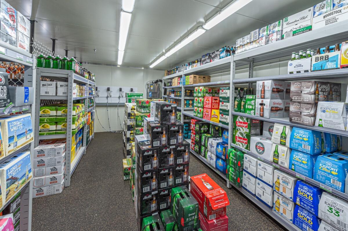 GDM liquor store chiller shelving system