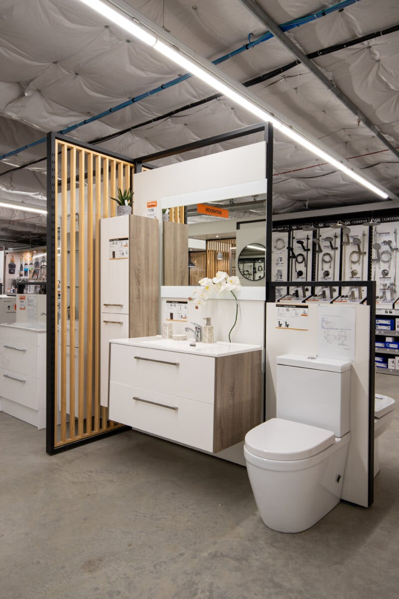 Bathroom fixtures displayed by brand and price point