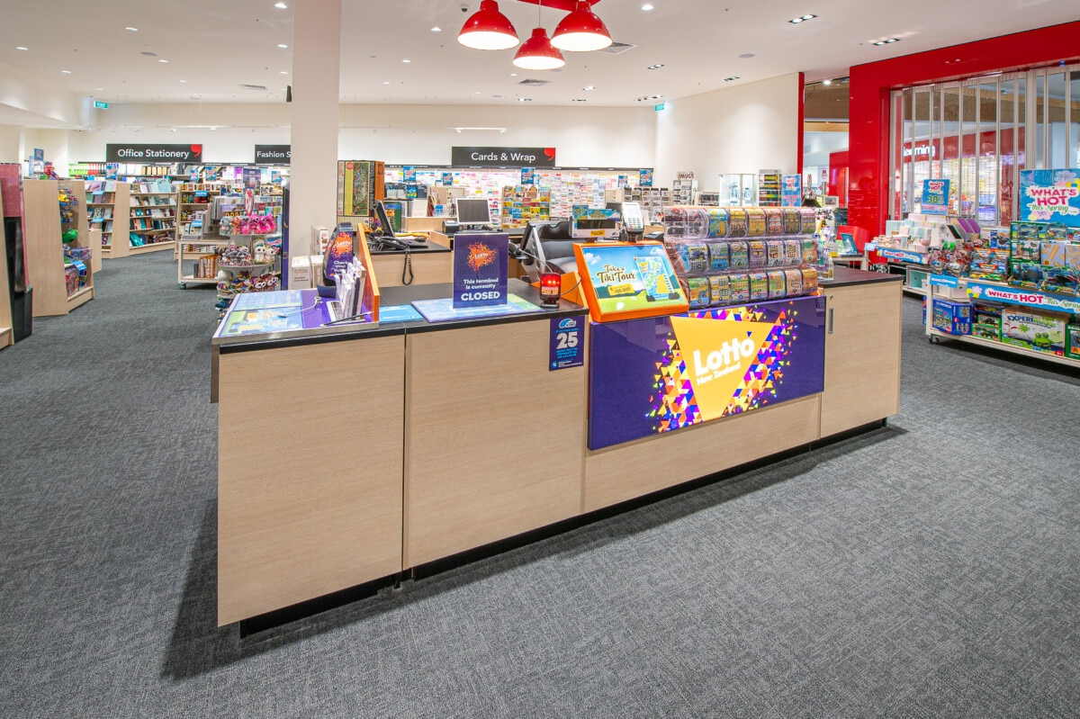 Large check out counter with Lotto in bookstore